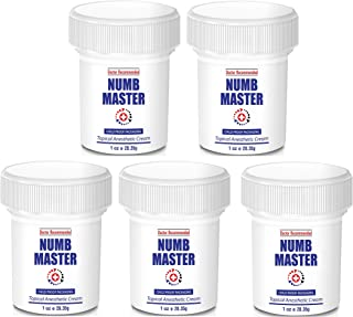 Numb Master 5% Lidocaine Topical Numbing Cream with Aloe, Vitamin E, 1 Oz Maximum Strength Topical Anesthetic Cream Pain Relief Cream with Child Resistant Cap, 5-Pack