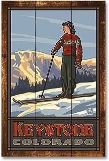 Keystone Colorado Girl Skier Standing Sunset Rustic Wood Art Print by Paul A. Lanquist (12