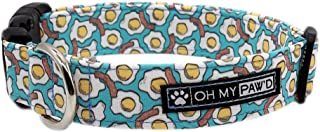 Eggs and Bacon Collar for Pets Size Large 1 Inch Wide and 17-25 Inches Long - Hand Made Dog Collar by Oh My Paw'd