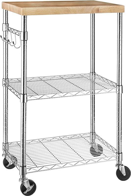 AmazonBasics Kitchen Rolling Microwave Cart On Wheels Storage Rack Wood Chrome