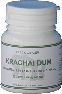 60 Capsules, 500 mg of Tongkatali.org's 1:60 Krachai Dum Extract