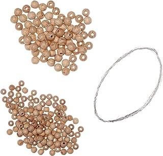 RAYHER 62636000 Bastelpackung Holzperlen-Stern, 11 cm Durchmesser, Perlen und Fädeldraht und Anleitung, 3 Stück
