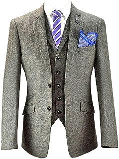 Cavani Mens Tweed Checked Blazers Waistcoats Trouser 3 Piece Suits