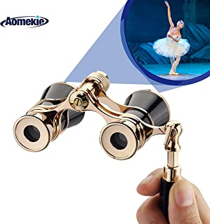 Aomekie Opera Glasses Binoculars 3X25 TheaterGlasses Mini Binocular Compact with Handle for Adults Kids Women in Musical Concert(Black)