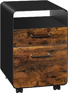 SONGMICS Caisson 2 tiroirs, Classeur de bureau roulant avec roues, Compartiment ouvert, Cadre en acier, Papeterie, Rail su...