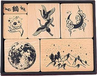 MissOrange『木製ゴム印セット』日本クレーン鳥 クリエイティブスタンプセット クラフトカード スクラップブッキング 手帳用 6個セット M-62