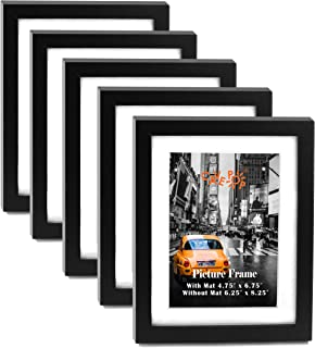 "5x7"" Black Wood Textured Picture Frame Set of 5, 5x7 Picture Frames Black Wood with Mat (With Mat 4.75 x 6.75""; Without Mat 6.25 x 8.25""), Gallery Wall 5x7 Hanging Picture Frames Set for Living Room"