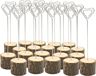 Royal Brands (20 Pack) Rustic Real Wood Stump Base Wedding Table Name Number Holder Party Wedding Decoration Place Card Holders Picture Memo Note Photo Heart Shaped Clip Holder Food Tags