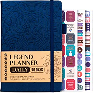 Legend Planner Daily for 3 Months – Undated Deluxe Monthly Weekly & Daily Planner to Hit Your Goals & Live Happier. Organi...