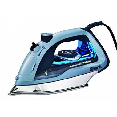 Shark Professional, Garment Steamer with Auto-Shut Off and Stainless Steel Soleplate, 1600 Watts Electric Steam Iron (GI405), Blue,