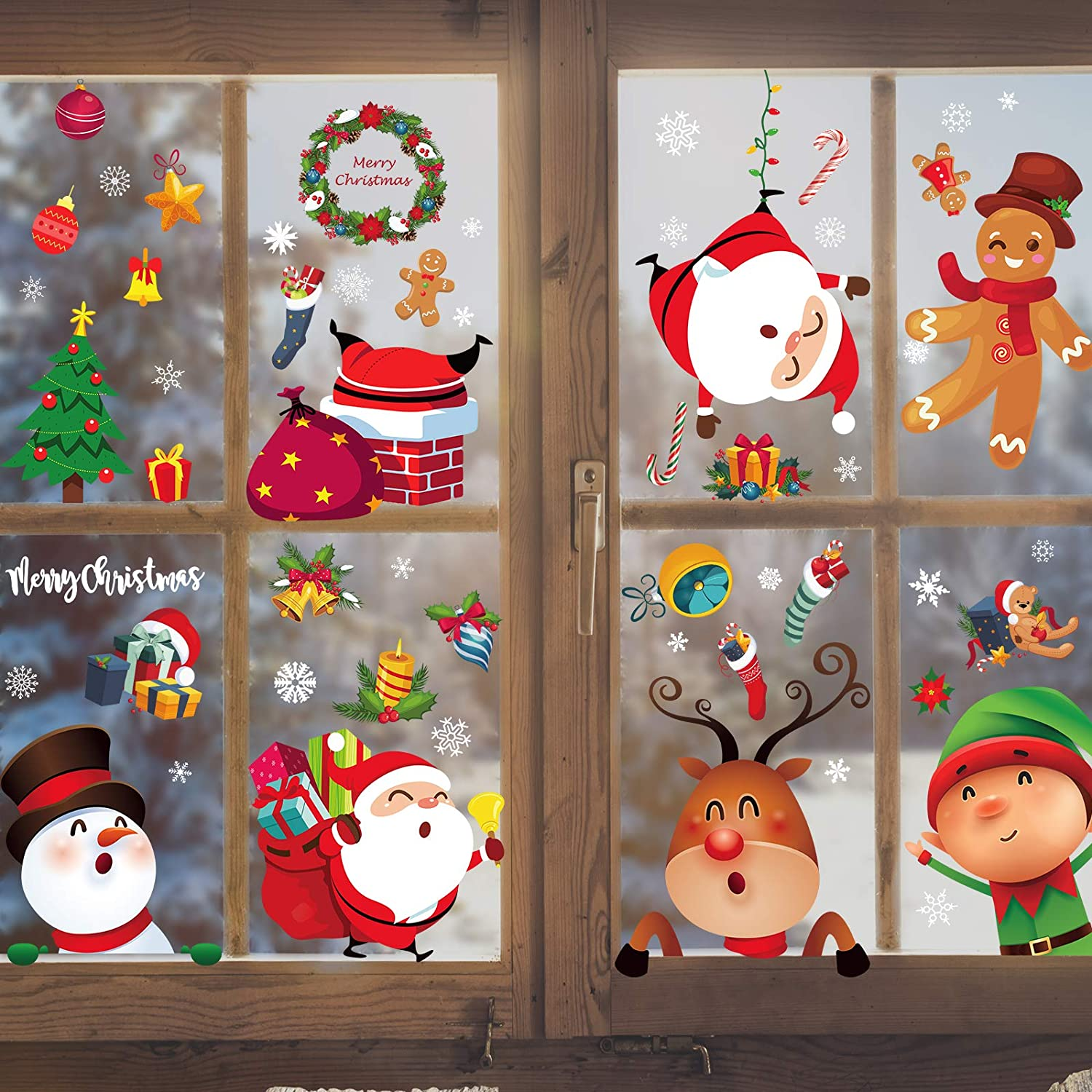 5 ☆ popular Christmas Window Max 86% OFF Clings 8 Sheets Sticker Decals
