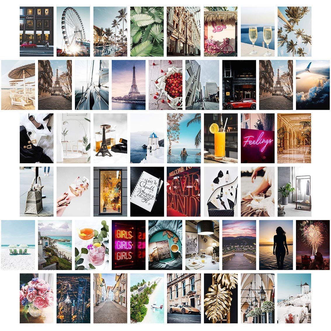 Wall Collage Kit Aesthetic Pictures, Aesthetic Room Decor, Bedroom Decor for Teen Girls, Wall Collage Kit, VSCO Room Decor, Photo Wall, Aesthetic Posters, Collage Kit (50 PCS 4x6 inch)
