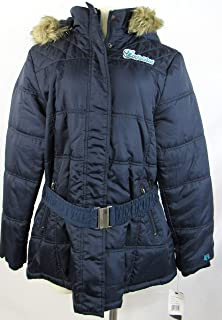 G-III Sports Womens Miami Dolphins Full Zip Up Fleece Lined Winter Jacket with Removable Faux Fur Trimmed Hood and Belt, Size Large