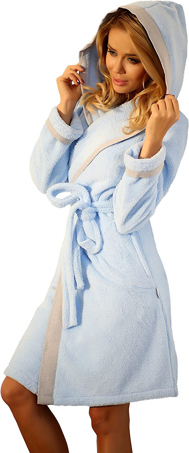 Womens Dressing Gown Short Hooded Bathrobe Housecoat Us Robe Sizes 4 6 8 10 12 At Amazon Women S Clothing Store