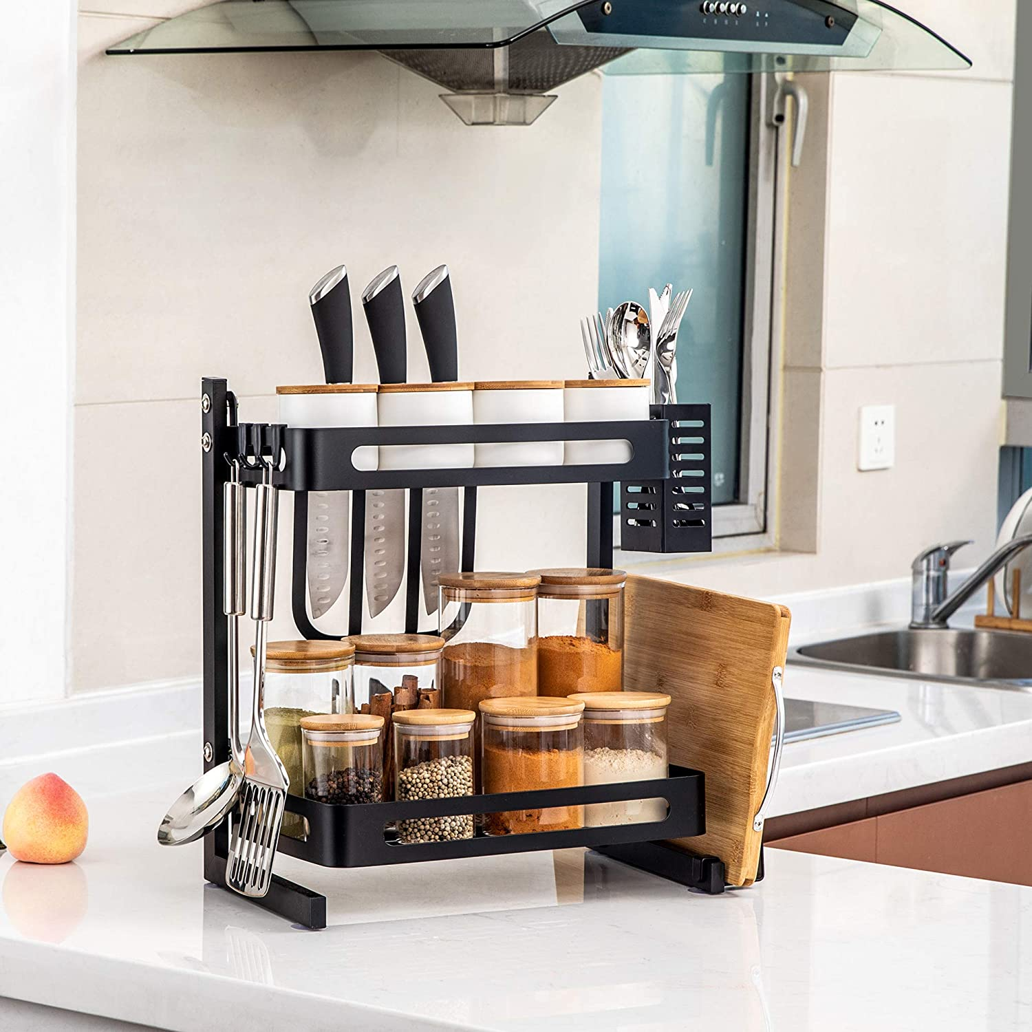 TOLEAD 9 Tier Spice Rack Kitchen Counter Organizer Heavy Duty  Multifunctional Seasoning Storage Shelf with 9 Extra Side Hooks for Knife  Block, ...