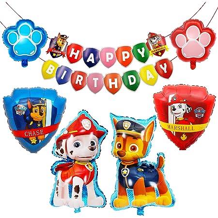 HONGECB Decoración Cumpleaños Patrulla Canina, Dog Globos de Fiesta de Cumpleaños, Suministros de fiesta de Patrulla Canina, Banner de Happy Birthday, Perros Foil Helio Balloons for Kids, 8 Piezas