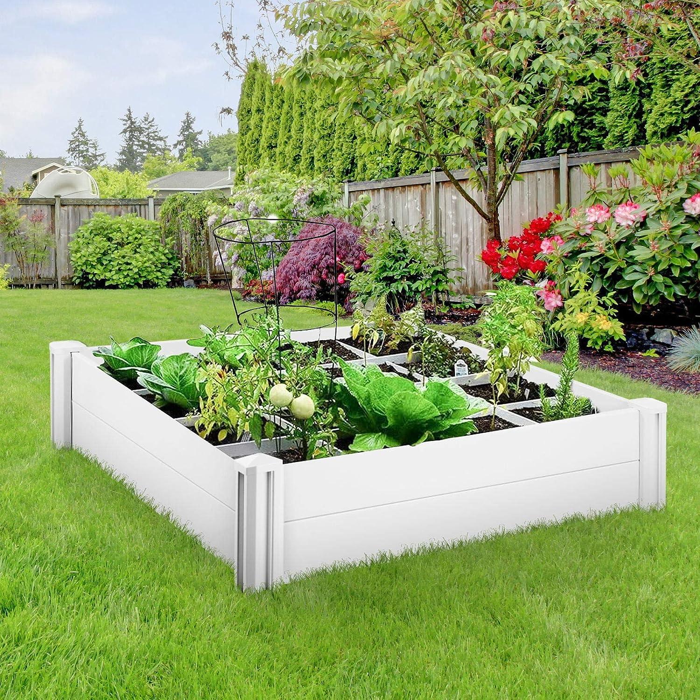 GARTIO Raised Garden Bed, 4x4ft PVC Raised Planter Kit, Outdoor Above-Ground Vinyl Garden Box, with Grow Grid, Screwless Assembly, for Vegetables, Flowers, Organic Herbs, DIY Gardening, Whelping Pen