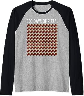100th Day Of School Shirt Funny 100 Pizza Gift Student Girl Raglan Baseball Tee