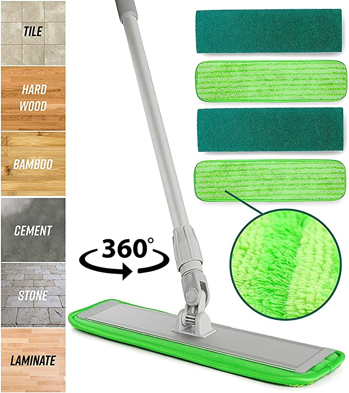 Microfiber Mop Floor Cleaning System Washable Pads Perfect Cleaner For Hardwood Laminate Tile 360 Dry Wet Reusable Dust Mops With Soft Refill Pads Handle For Wood Walls Vinyl Kitchen