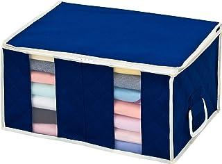 アストロ 収納ボックス 衣類用 ネイビー 不織布 仕切り付き 取っ手付き 192-01