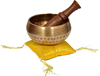 Tibetan Meditation Yoga Singing Bowl Set - Hand Beaten for Relaxation and Healing With Mallet & silk Cushion
