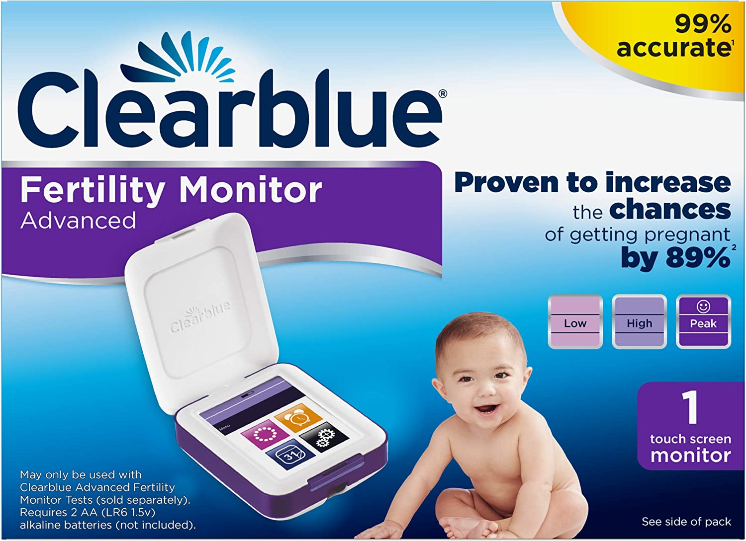 Clearblue Advanced Fertility Monitor, Touch Screen Monitor, 1ct