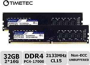 Timetec Hynix IC 32GB KIT(2x16GB) DDR4 2133MHz PC4-17000 Non ECC Unbuffered 1.2V CL15 2Rx8 Dual Rank 288 Pin UDIMM Desktop PC Computer Memory Ram Module Upgrade (32GB KIT(2x16GB))