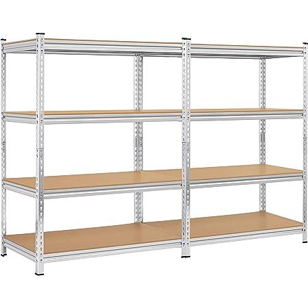 3 Home Garage Multi-Use Storage Rack with Adjustable Shelves TANGKULA Metal Storage Shelves 4-Tier Garage Shelf 63 inches Heavy Duty Steel Frame 32L/×16W /×63H