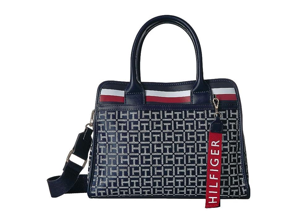 Tommy Hilfiger Gianna Satchel (Navy/White) Handbags