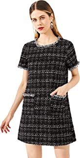 Floerns Women's Tweed Short Sleeve Shift Tunic Dress with Pockets