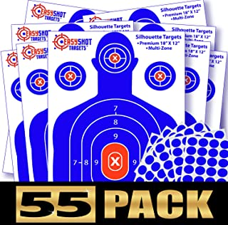 """55-Pack Silhouette Targets for Shooting, High-Contrasting Blue & Red Colors, Easy to See Your Shots Land, Heavy-Duty Paper Sheets 18"""" X 12"""" - 150 Free Repair Stickers, Close to Wholesale Prices."""