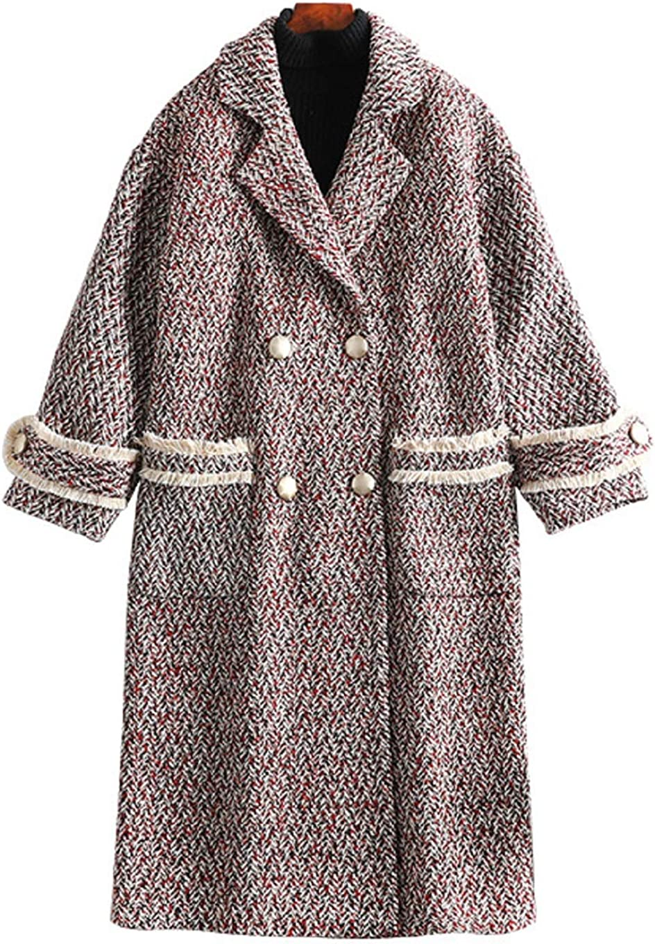 CHARTOU Women's Loose Notched Collar Double Breast Plaid Wool Blend Midi Long Pea Coat