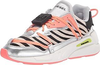 حذاء رياضي نسائي من Diesel ، أبيض/أسود/روزا أنتيكو/فضي