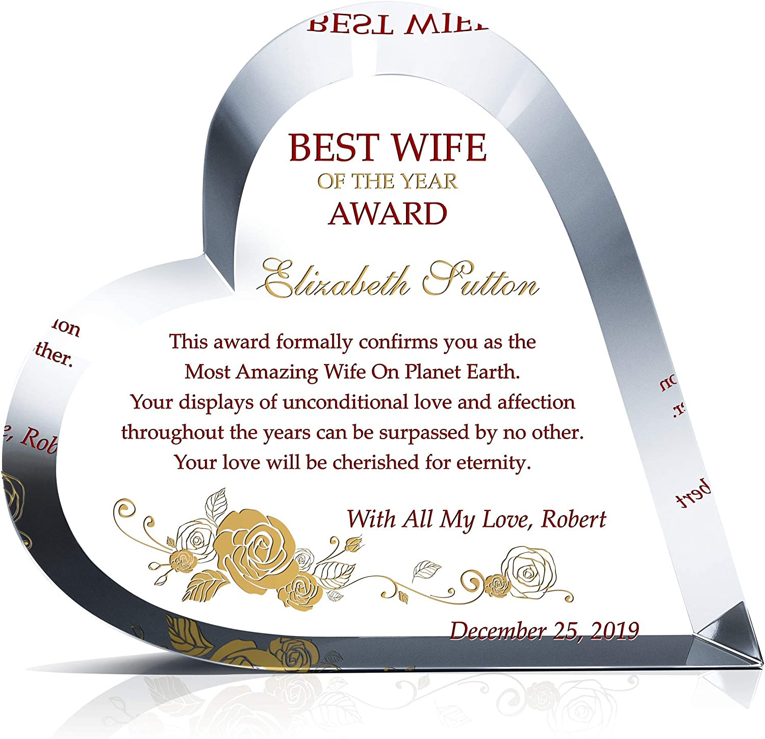 Personalized Heart Shape Crystal Best Wife Year Cu Manufacturer OFFicial shop Award the Max 66% OFF of