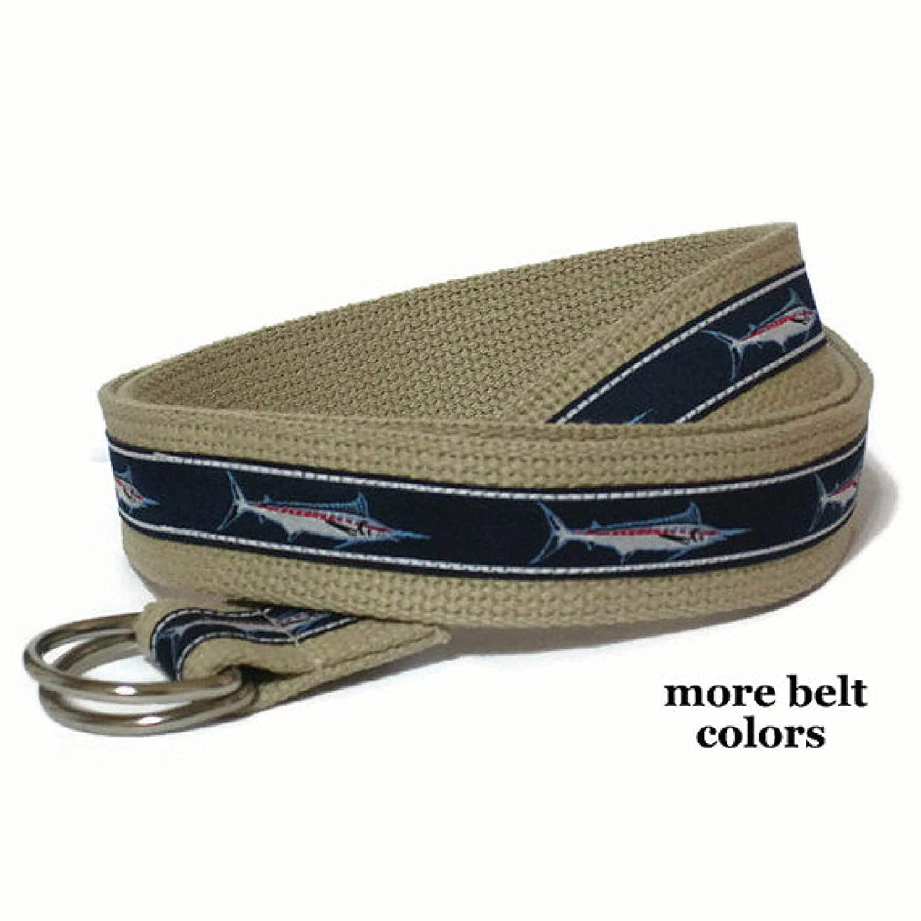 Mens Belt/Canvas Belt/Navy Fish D-Ring Belt/Khaki Ribbon Belt for Men Teens Big and Tall Men - Marlin Sailfish in navy sizes xs to Big and Tall