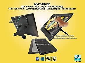 Yiynova MVP16U+DF 15.6 Inch FHD IPS Finger/Pen Dual Touch Tablet Monitor w/5V3A USB, HDMI port.(Yiynova Cloud PC Ready)(Mac & Windows). Free Yiynova Carrying Case + Free Screen Protection Film