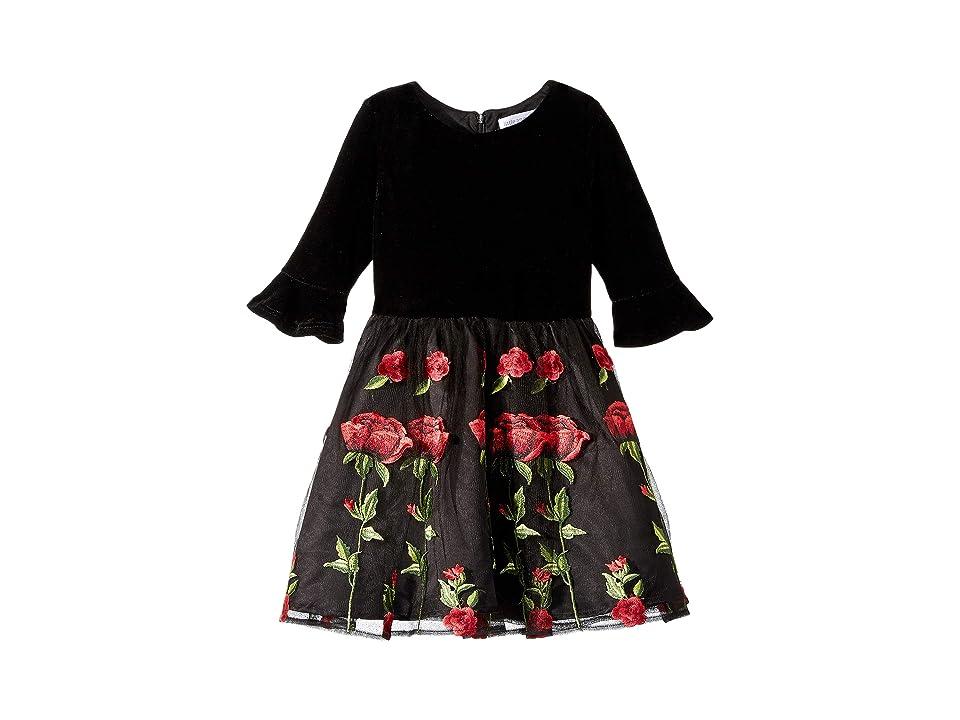 a03a01d6c4 Us Angels 3/4 Bell Sleeve Velvet Bodice Dress with Embroidered Skirt ( Toddler/Little Kids) (Black) Girl's Dress