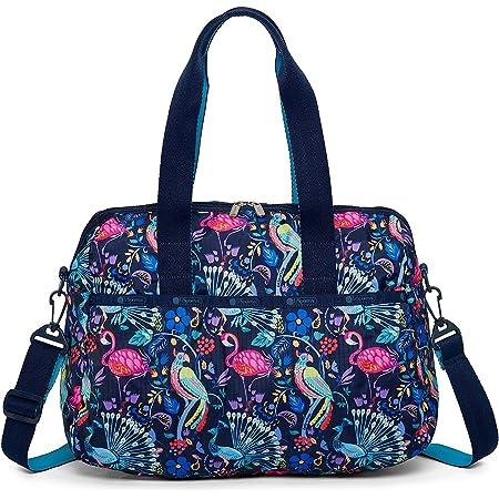 LeSportsac Coconut Grove Harper Convertible Crossbody & Top Handle Tote Handbag/Carry-on, Style 3356/Color F651, Tropical Paradise - Pelicans, Peacocks, Parrots & Vibrant Flowers, 2 Tone Strap/Handles