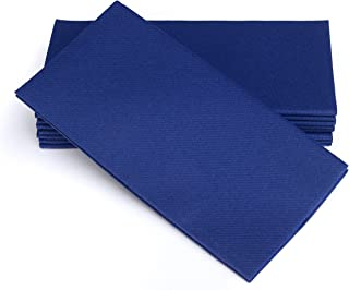 "SIMULINEN Colored Napkins – Decorative Cloth Like & Disposable Dinner Napkins – Blue - Soft, Absorbent & Durable – 16""x16"" – Perfect for Hanukkah! - Box of 50"