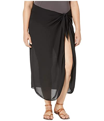 DOTTI Plus Size Summer Long Sarong Pareo Cover-Up (Black) Women