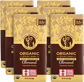Equal Exchange Organic Dark Chocolate with Almonds, 2.8-Ounce (Pack of 6)