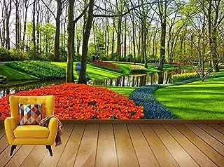 Avikalp Exclusive Awi7536 Garden Flower Garden Flowers Flower Bed Lawn Brook HD Wallpaper(7 ft x 8 ft)