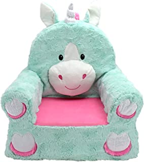 "Animal Adventure | Sweet Seats | Teal Unicorn Children's Plush Chair, Larger :14"" x 19"" x 20"""