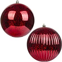 KI Store Christmas Ball Ornaments Red Set of 2 Extra Large Hanging Tree Ball Ornament Decorations Super Large Shatterproof Vintage Mercury Balls 6-Inch