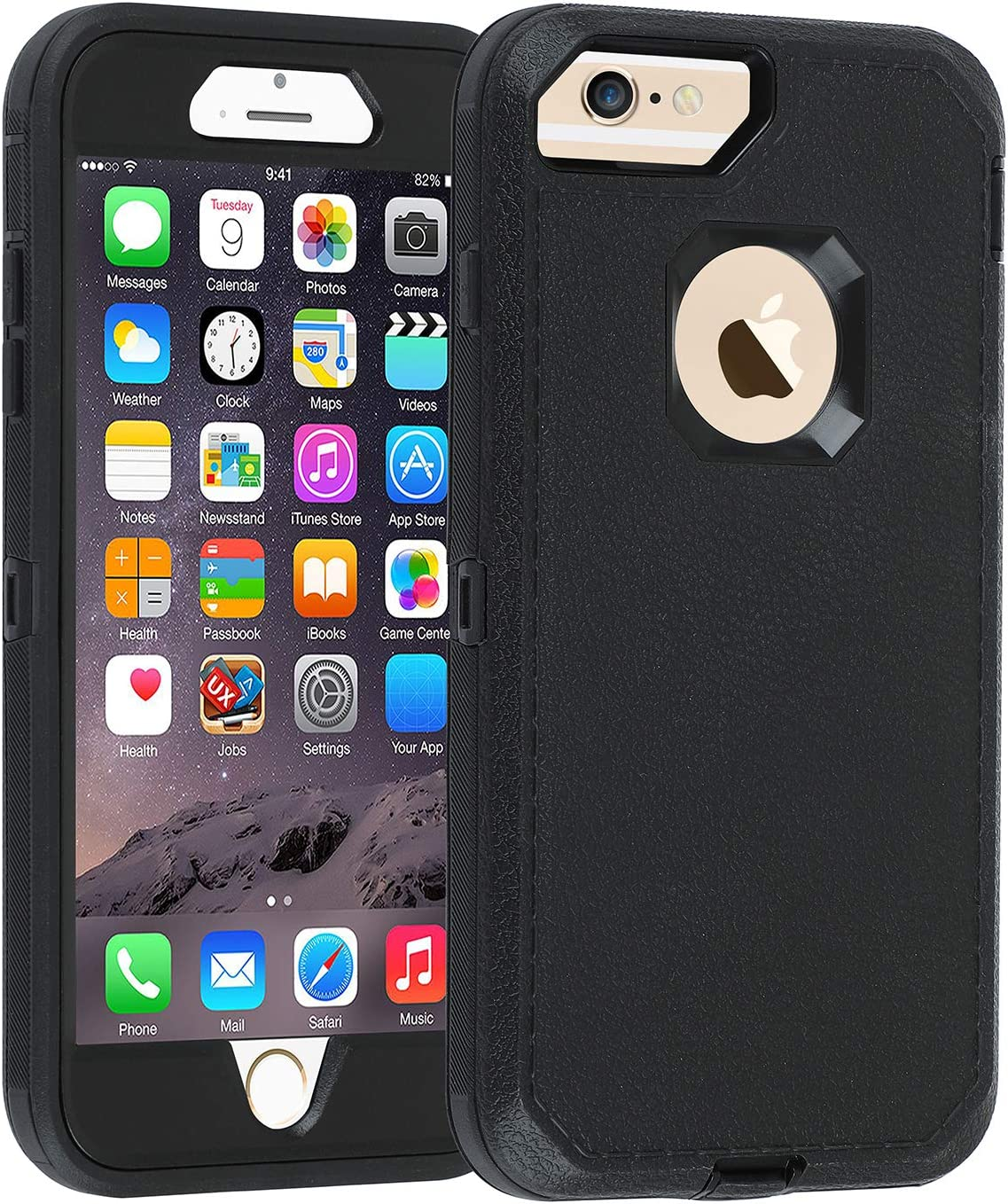 Co-Goldguard Case iPhone 7 Heavy Duty iPhone 8 Case Durable 3 in 1 Hard Cover Dust-Proof Shockproof Drop-Proof Scratch-Resistant Shell (Black)