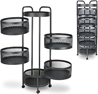 TRENDBOX Fruit Basket Storage Rack Round Multi-Layer Rotating Metal Shelves for Storage Fruit Basket for Kitchen - 5 layers