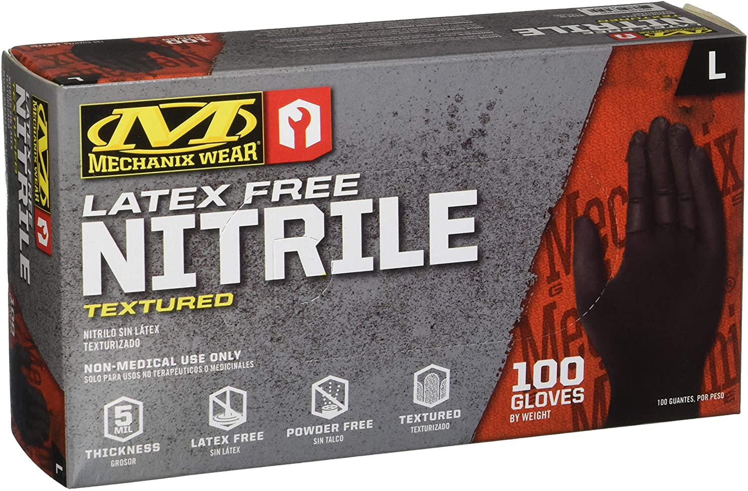 Mechanix Wear - Nitrile Disposable Gloves, Powder Free, Latex Free, Textured - 5 mil Black (Large, 100 Pack): Home Improvement
