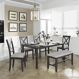 ست میز ناهار خوری 6 تکه ، میز غذاخوری چوبی و 4 صندلی با 1 نیمکت کوسن ، ست میز آشپزخانه به سبک روستیک برای 6 نفر ، خاکستری
