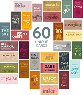 DiverseBee 60 Pack Assorted Motivational Cards - Inspirational and Kindness Mini Note Cards, Gratitude Encouragement Card ...