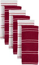 J & M Home Fashions 6Pk Ribbed Terry Kitchen Towel Red
